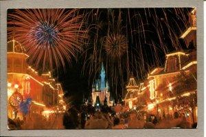 Postcard CA Walt Disney World Fantasy in Sky Fireworks Main St Castle 1112C