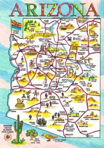Postcard of Arizona State and Highway Map #1