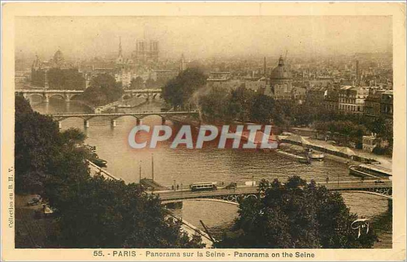 Old Postcard PARIS Panorama on the Seine