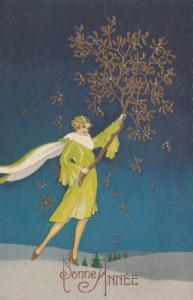 ART DECO ; New Year; Female holding Mistletoe, Green/White Dress 1910-20s