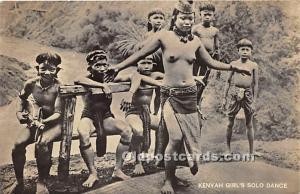 African Nude Postcard Kenyah Girl's Solo Dance Writing on back