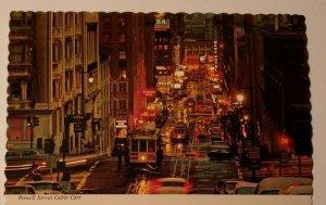 Vintage Postcard San Francisco California cable car old autos Powell Street 1981