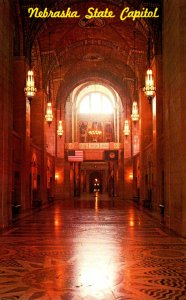 Nebraska Lincoln The State Capitol Main Hallway Looking Towards The Rotunda