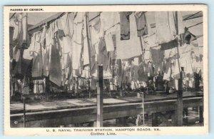 HAMPTON ROADS, VA  Naval Training Station CLOTHES LINE Laundry   Postcard