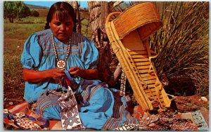 Arizona Native Americana Postcard APACHE BEAD MAKER Indian Woman Crafts c1950s