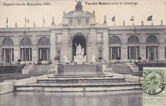 Exposition Universelle Bruxelles 1910 Vue des Bassins avec le Quadrige