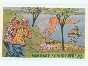 Linen Risque peeping tom MEN TAKE PICTURES OF NUDE SKINNY-DIPPING GIRLS AB6475