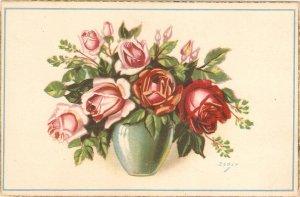 Flowers. Beautiful roses in vase  Nice vintage Spanish postcard. Signed