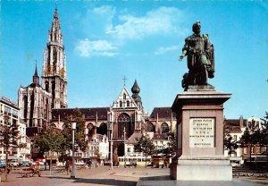 Place Verte et statue du peintre Rubens Anvers Belgium 1972