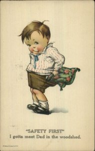 Charles Twelvetrees Boy to Be Beaten Stuffs Pillow in Pants Postcard #2