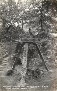 Aitkin Minnesota~Ak Sar Ben Gardens~Path~Hanging Rock Flower Pot~1930s RPPC