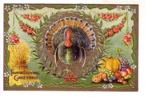 Thanksgiving Large Turkey, Embossed, Printed in Germany 2277
