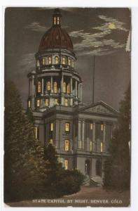 State Capitol at Night Denver Colorado 1915 postcard