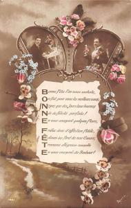 Bonne Fete, forget-me-not roses elegant man homme, souvenir vintage