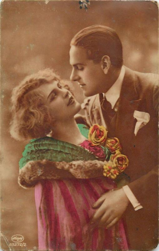 Vintage tinted photo postcard lovers couple love romance amoureux amor
