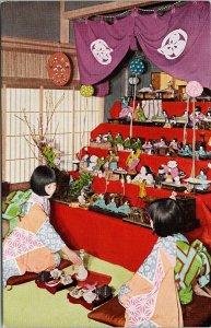 Doll Festival Japan Women with Dolls Japanese Government Railways Postcard F87