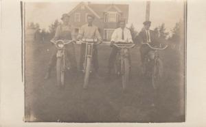 RP: SLEEPY EYE, Minnesota , 1914 ; 4 men on Motorcyles