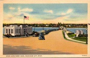 Michigan Mackinaw City State Auto Ferry Dock 1937 Curteich