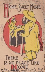 Organ Grinder wearing raincoat and hat, monkey, Home, sweet home there is no...