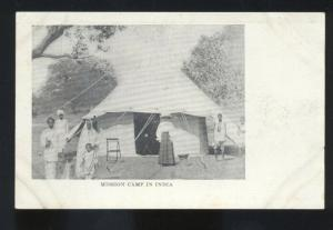 MISSION CAMP IN INDIA MIDDLE EAST TENT ANTIQUE VINTAGE POSTCARD