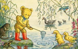 Caught a tadpole, Teddy - Artist Signed: Molly Brett