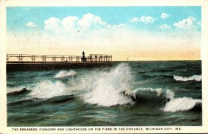 Indiana Michigan City The Breakers Foghorn & Lighthouse On The Piers In The D...