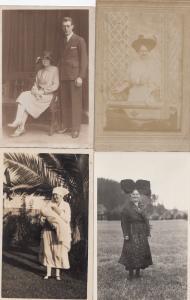 Antique Giant Hat Huge Bow Bowler Hats 4x RPC UNIQUE Fashion Postcard Bundle