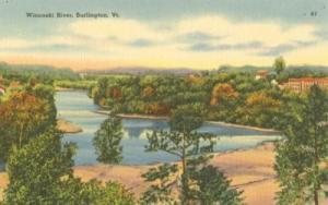 Winooski River, Burlington, VT. unused linen Postcard