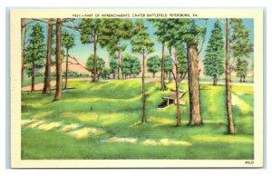 Postcard Part of Intrenchments, Crater Battlefield, Petersburg VA W45