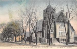 Perry Iowa~Handcolored: 1st Congregational @ End of Residential St~SHARP! c1910