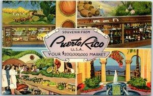 Vintage PUERTO RICO, U.S.A. Postcard Your 2,000,000 Market Linen c1940s