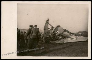 Germany WWI Crash Downed Enemy Airplane Battlefield  RPPC 65318
