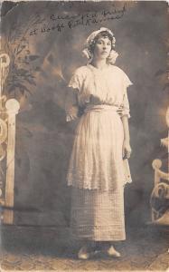 Dodge City Kansas~Sorry Looking Friend, May~Girl in White~Marathon IA~1909 RPPC