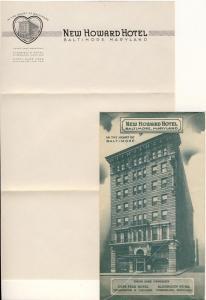 New Howard Hotel Envelope/Stationary, Baltimore, Maryland/MD