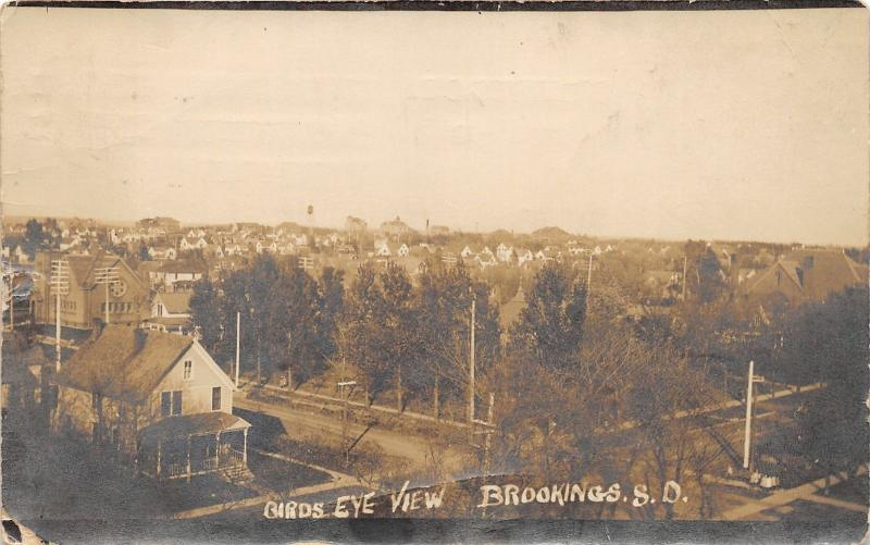 Brookings South Dakota Birds Eye View~Street-Houses-Church-Water Tower~1913 RPPC