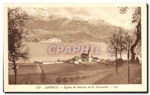 Postcard Old Annecy Sevrier Church and the Spinner
