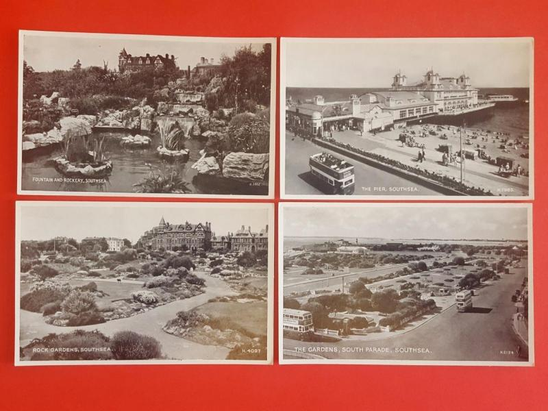4 x Vintage Postcards SOUTHSEA Hampshire by Valentine's Silveresque Series