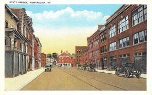 Montpelier Vermont~State Street~1920 Postcard