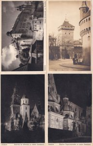 Krakow Elderly People at Brama Florjanska Katedra 4x Antique Poland Postcard s