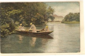 Ladies. Boat promenade with dog Nice old vintage spanish postcard