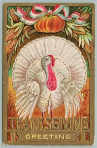 Thanksgiving~White Turkey Under Pumpkin On Arch~Patriotic Bow~Bold Gold Letters