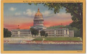 West Virginia State Capitol and Kanawha River, Charleston, unused linen Postcard