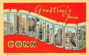 LP21 Large Letters Hartford  Connecticut  Vintage Postcard