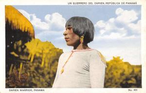 Panama Native Darien Warrior Man Portrait Antique Postcard K15495