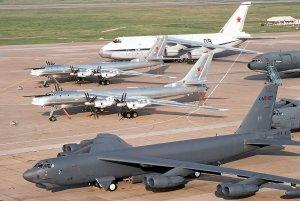 Postcard 1992 Russian TU-95 Bear H Bomber, AN-124, USAF B-52H Stratofortress T12