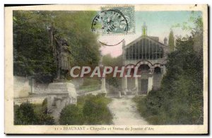 Postcard Beaunant Old Chapel And Statue Of Jeanne d & # 39Arc