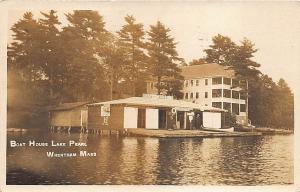 Wrentham MA Boat House Lake Pearl Gasoline Boat Rentals RPPC Postcard