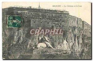 Old Postcard Belfort Castle and Lion
