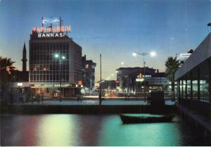 Turkey Izmir Night view of Karsiyaka River Boat Postcard