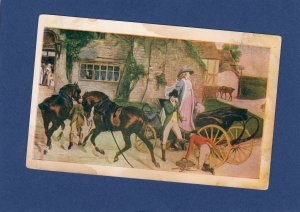 Horses and Cart With Gentlemen, Early Victorian Scene, Postcard White Border